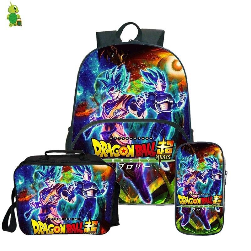 Dragon Ball Super Broly sac à dos porte-crayon sacs d'école pour adolescent garçons filles déjeuner sac à dos 3 pièces/ensembles enfants voyage sac à dos