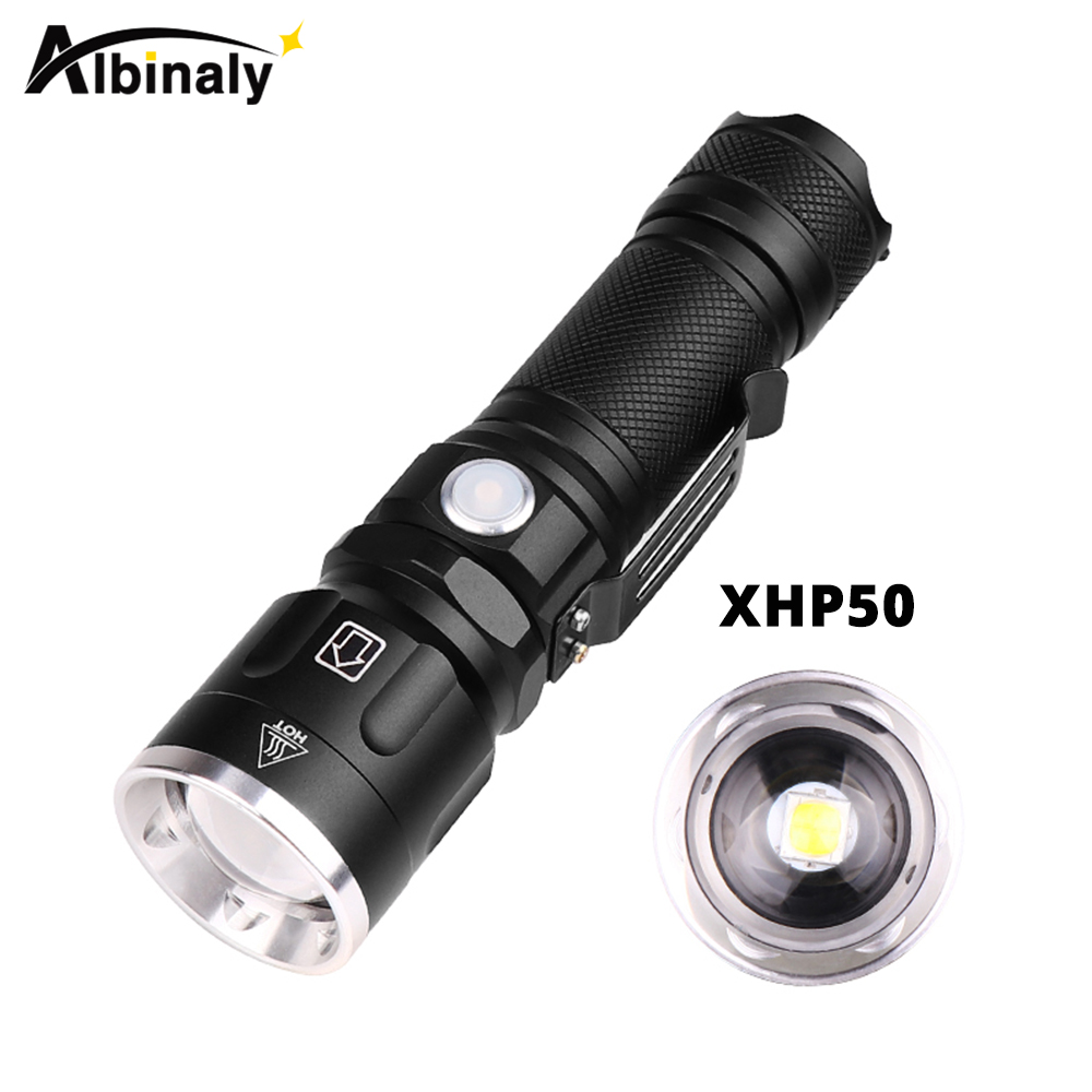 Super Bright Xhp50 Led Flashlight 30000 Lumens 5 Lighting Modes Zoomable Torch Use 18650 Or 26650 Battery For Outdoor Adventures