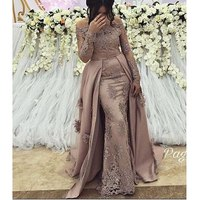 Sexy Plus Size Arabic Muslim Long Sleeve Evening Prom Dresses Gown 2019 Elegant Women Formal Gala Party Long Dress