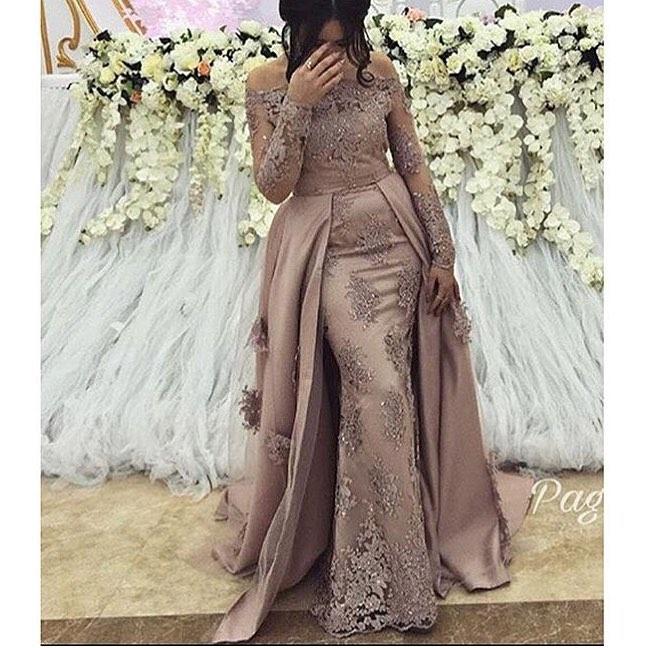 Sexy grande taille arabe musulman à manches longues soirée robes de bal robe 2019 femmes élégantes formelle Gala fête longue robe