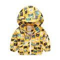 Горячие Продажа Baby Boy Куртки Милый Мультфильм Детская Одежда Весна Осень Дети Верхняя Одежда Ветрозащитный Пальто С Капюшоном Одежда Для Мальчиков