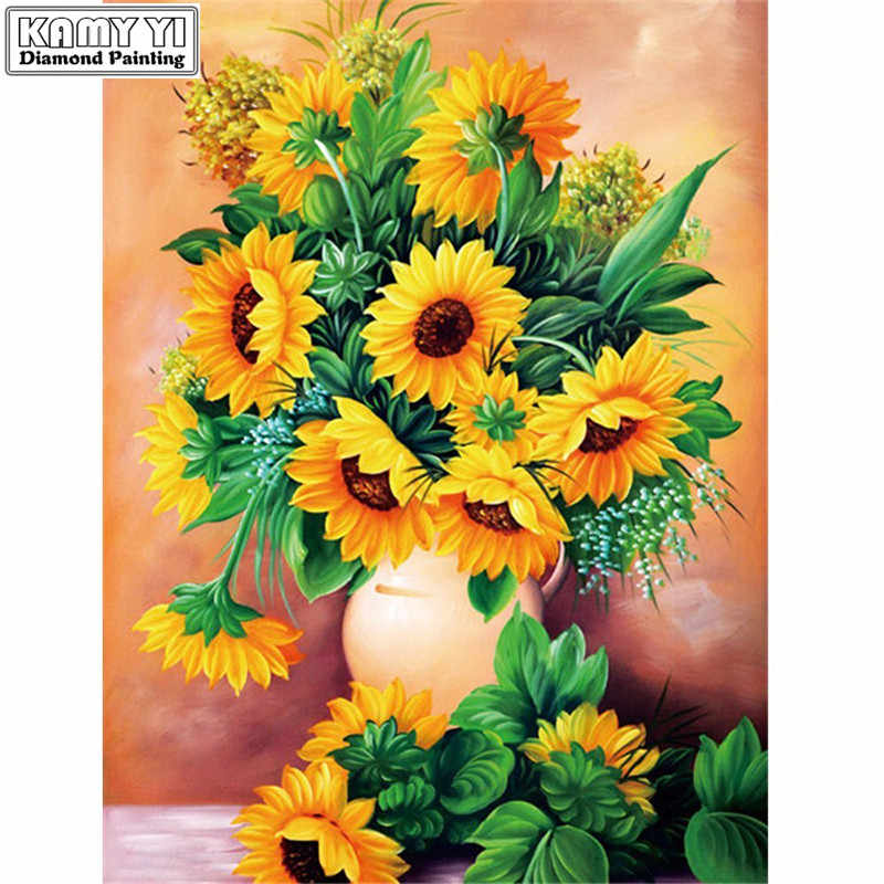 Diamond Embroidery Sunflowers Needlework 5D DIY Diamond Painting Flower Full Square Rhinestones Mosaic Home Decoration
