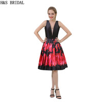 H S BRIDAL Deep V Neck Short Evening Dress Backless Evening Gowns For Women Red Black
