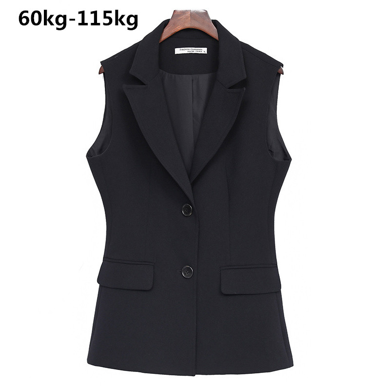 Spirited Extra Plus Size Xl-8xl Fat Mm 100kg Professional Short Coat Female 2018 Spring Summer New Sleeveless Vest Women Vest Black Top Fine Workmanship