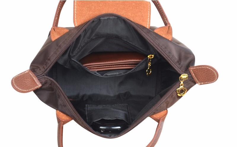 New-folding-shopping-bag-women-nylon-bag-casual-tote-bag-lightweight-foldable-waterproof-nylon-handbag-black (4)