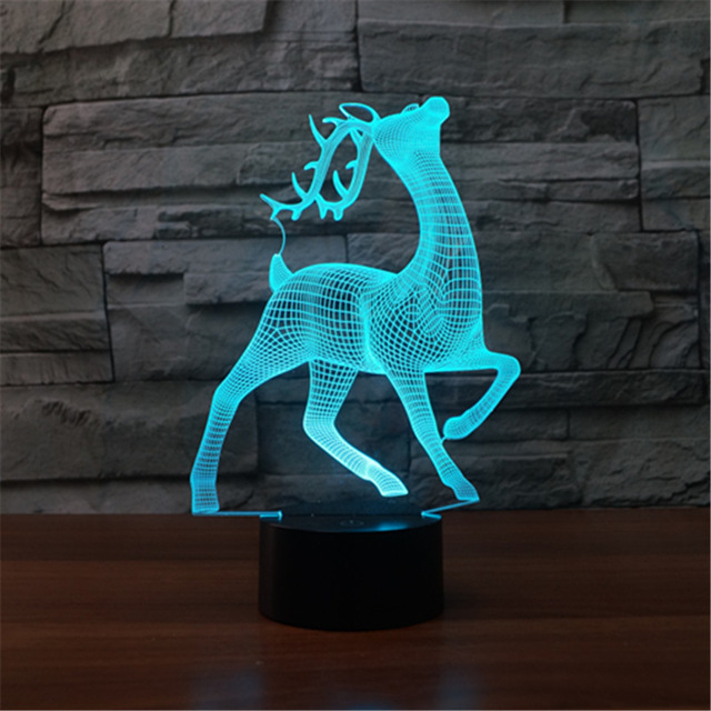 3D LED Night Light Sika Deer With 7 Colors Light For Home Decoration Lamp Amazing Visualization Optical Illusion Sensor Light image