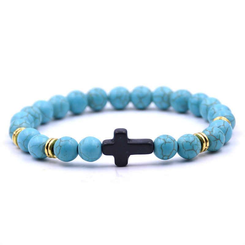 18 Kleuren Vintage Zwarte Cross Stone Charms 8Mm Natuursteen Kralen Armband Buddha Stretch Strand Yoga Sieraden