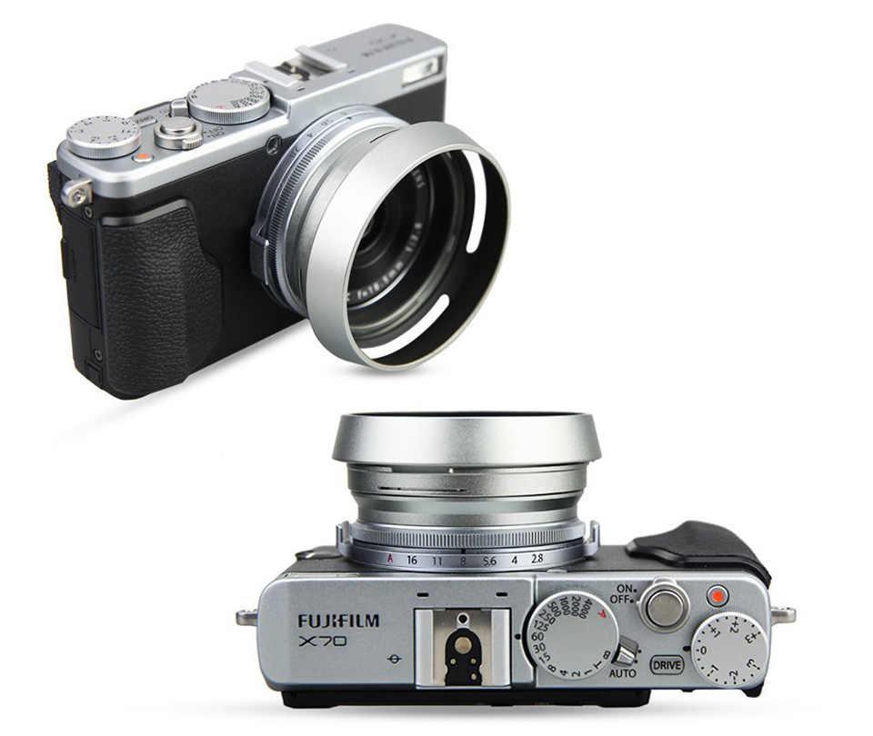 Pare-soleil 40.5mm en métal à visser ventilé incliné argent/noir pour Canon Sony A6500 A6300 A6100 A6000 A5100 A5000 E 16-50mm objectif SLR