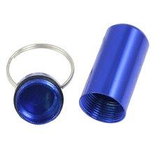 HTHL Royal Blue Aluminum Pill font b Tablet b font Case Box Cylinder Holder w Keyring