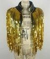 Золото пальто кисточки пальто куртки Жилет DS костюмы танцевать Рождество этап певица наряд Блесток жилет поверх производительность бар партия