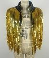 Capa de oro borlas abrigo chaqueta Chaleco DS cantante etapa traje chaleco de Lentejuelas sobre rendimiento trajes de baile de Navidad bar fiesta