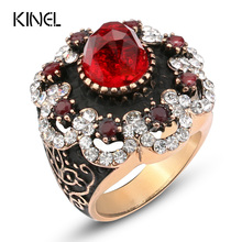 Hot Luxury Big Natural Stone Ring Vintage Crystal Antique Rings For Women Gold Color Party Christmas Gift Red Turkish Jewelry vintage bohemian big statement ring luxury antique gold crystal wedding rings for women turkish jewelry trending products 2018