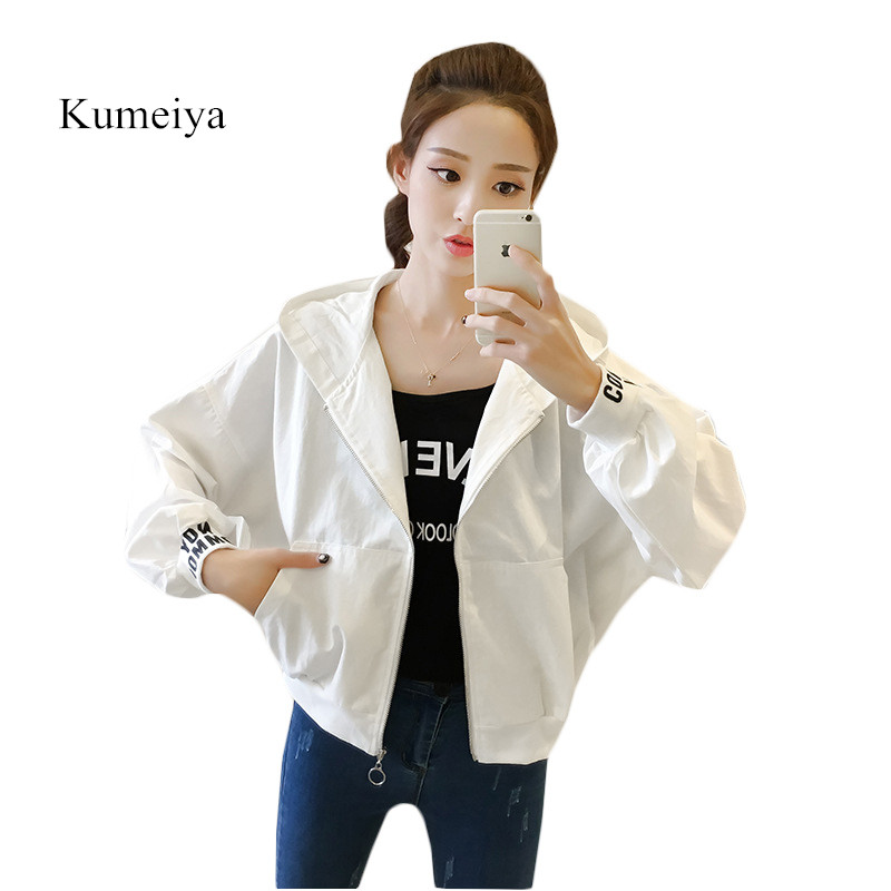 Kumeiya Autumn Bomber   Jacket   Women Letter Print White Batwing Sleeve Casual Baseball Coat Loose Hooded   Basic     Jacket   Outwear
