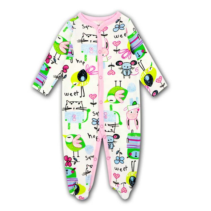 0 12 month Baby girl Clothes O neck Baby Rompers daughter Vestido Infantil Newborn Girl Long Sleeve Baby Cartoon picture print in Rompers from Mother Kids