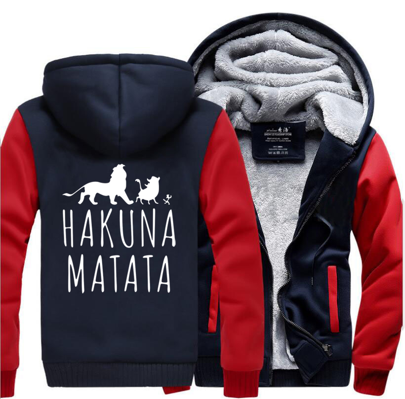 HAKUNA MATATA Cartoon Lion Printed Hooded Men 2018 Winter Thick Fleece Mens Sweatshirts Hoodies Slim Fit Hip Hop Jacekt Male