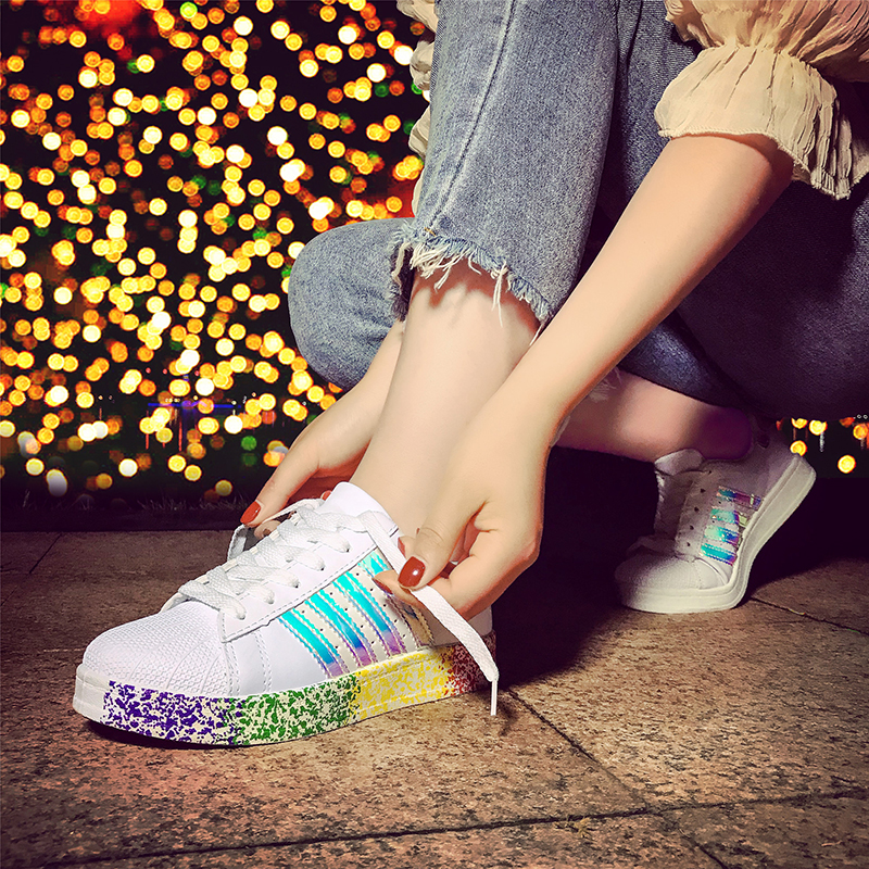 ZENVBNV High quality brand superstar fashion women casual shoes footwear lovers Colorful sneakers shoes Graffiti shoe 35~43size brand quality the walking dead canvas shoes printed women casual flat shoes diy couples and lovers valentine gifts graffiti shoe