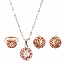 African Jewelry Sets Newest Style 2016 Costume Jewellery Earrings Necklace Ring Gift Sets Collier Femme Indian Jewelry Set
