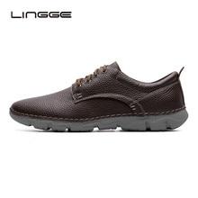 LINGGE мужская обувь, сделанный вручную настоящая кожа кроссовки, летняя обувь мокасины мужчин, лето мужская обувь повседневная #5693-2/3