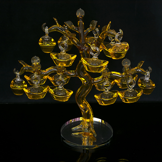 $ US $76.96 Chinese Yellow Crystal Glass Gold Ingots Tree Paperweight Feng Shui Crafts Lucky for Home Decoration to Family Promotion