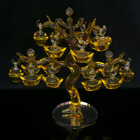 Chinese Yellow Crystal Glass Gold Ingots Tree Paperweight Feng Shui Crafts Lucky for Home Decoration to Family Promotion