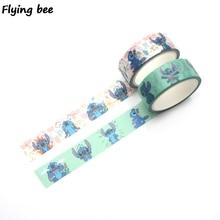 Flyingbee 15mmX5m Stitch Washi Tape Paper DIY Decorative Adhesive Tape Stationery Cartoon Masking Tapes Supplies X0298 jianwu 1pc 15mmx5m black