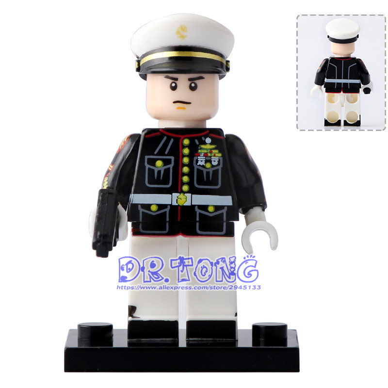 DR TONG Single Sale PG1034 Marine Corps Policeman Black Coat Building Blocks Bricks DIY Toys Children