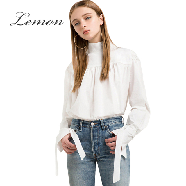 Lemon Solid White Sweet Blouse Women Flare Sleeve Pleated Tie Cuff Shirt Draped High Collar Casual Slim Basic Blouse Female