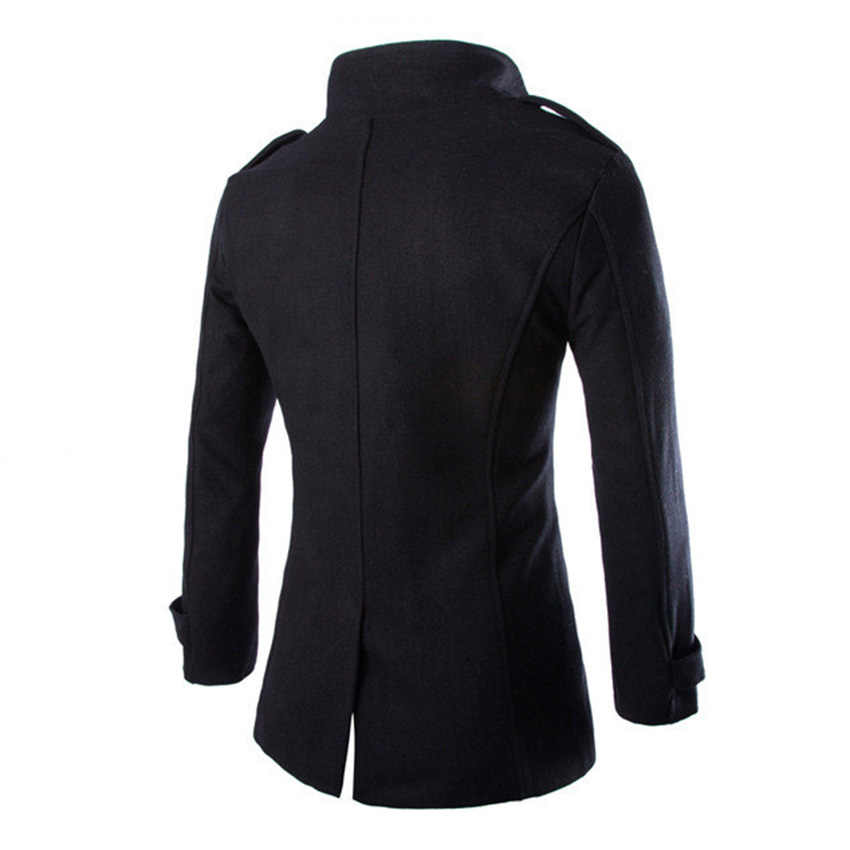 Nuevo abrigo de lana de otoño e invierno para hombre, abrigo de lana de Cachemira informal a la moda, abrigo de lana para hombre, Venta caliente D76
