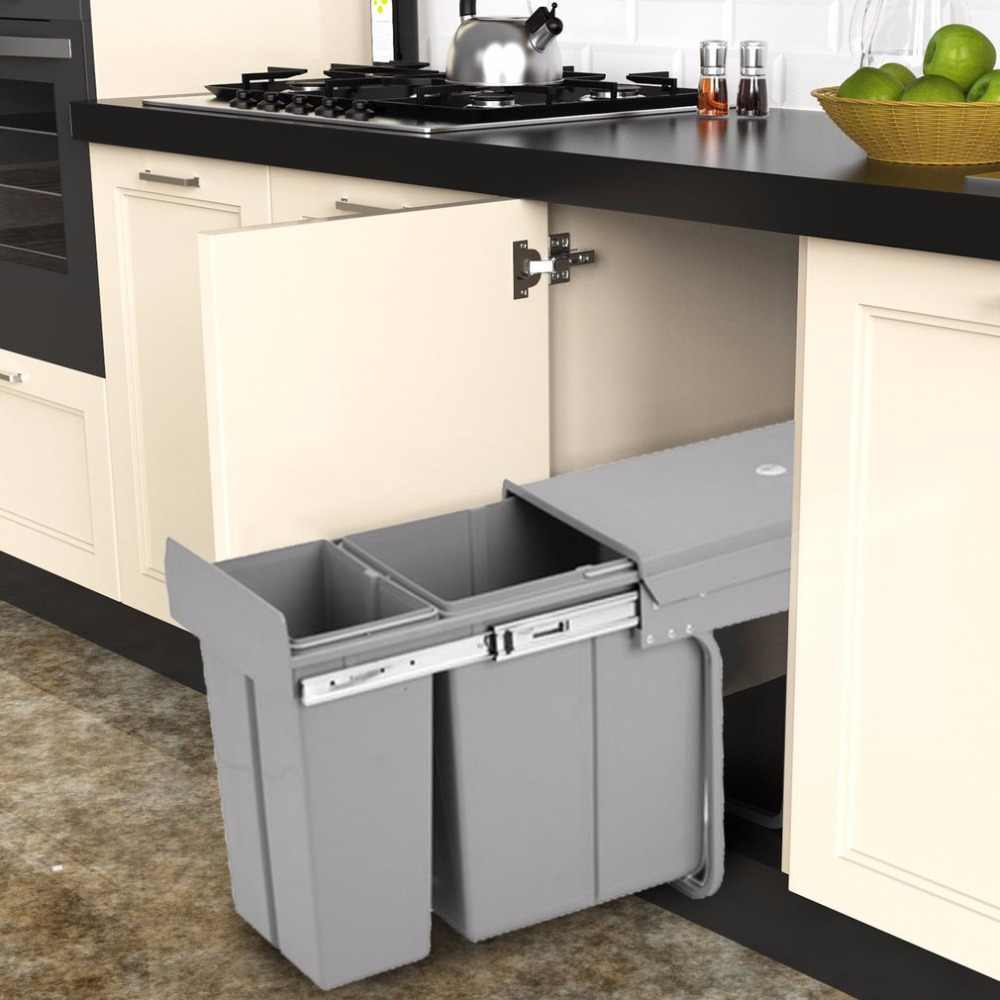 30 Litre SHUNDA-N002 Recycle Bin Durable Pull Out Kitchen Waste Bin Soft  Slow Closing Trash Can Practical Kitchen Assistant