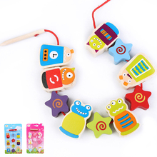 cartoon mermaids monster big wooden Block String Beaded Toys/ Children Learning & Education Baby Toys Colorful Novelty DIY toys