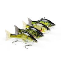 Mmlong 6 Top Quality Fishing Lure 2 Segment Lifelike Swimbait Vivid Realistic Crankbait Slow Sinking Fish