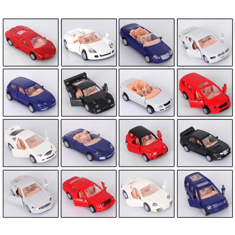 16pcs/lot 1:87 Car Model Toy Hot Selling Model of World Famous Car ,doors Can Be Opened Assembly Building & Construction Toys