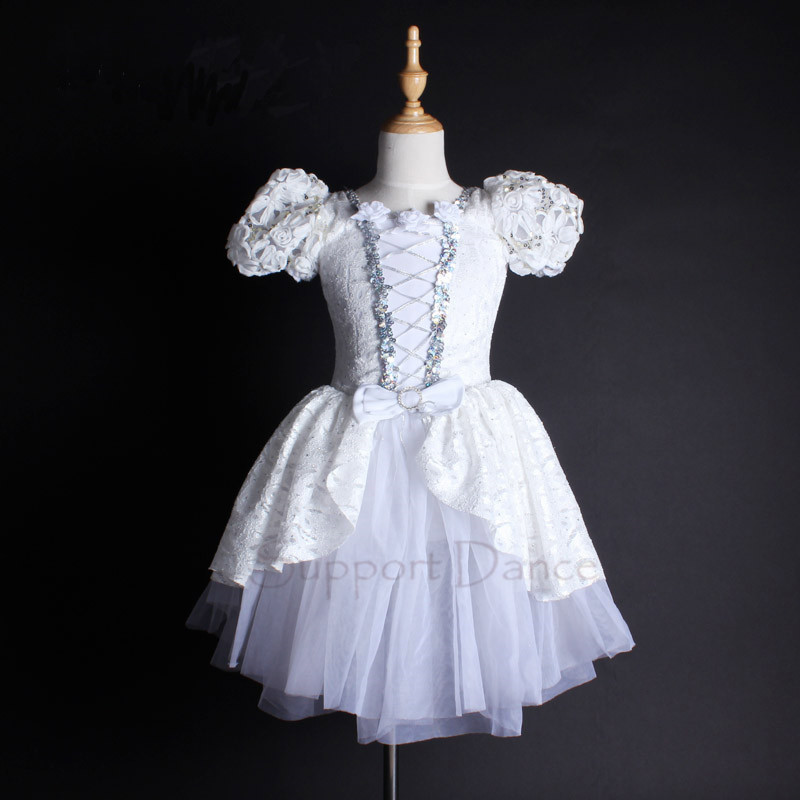 Puff Sleeve White Lace Professional Ballet Tutu Dress Kids Adult Dance Costume Support Dance C101