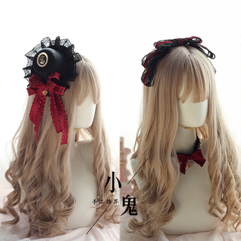 Vintage Dark Girls Gothic Lolita Pearls Bow Black Hat Headband Hair Accessories Headwear Women's Headdress Hair pin 1
