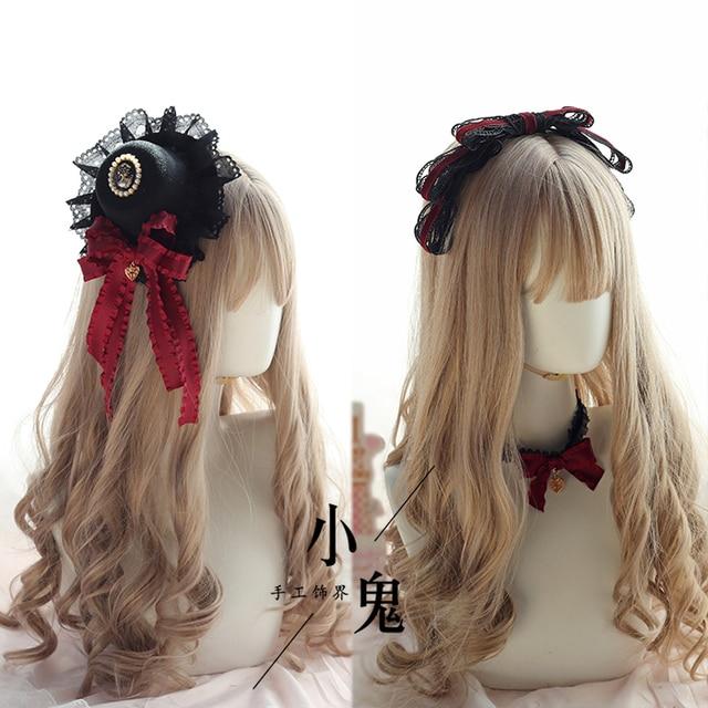 Vintage Dark Girls Gothic Lolita Pearls Bow Black Hat Headband Hair Accessories Headwear Women's Headdress Hair pin 1