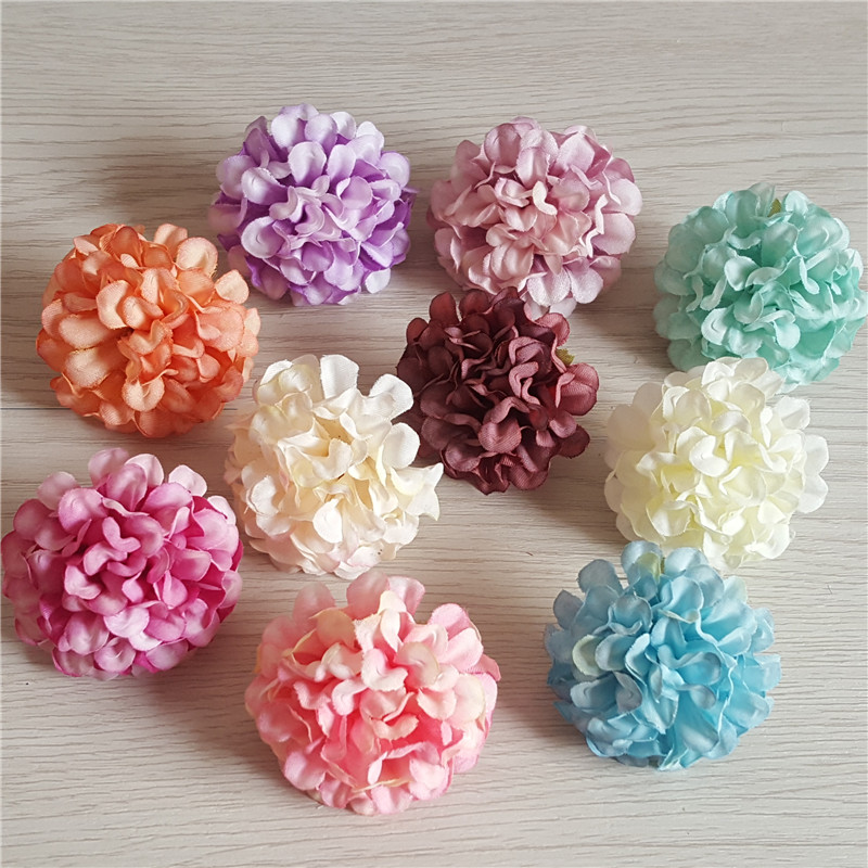20pcs 10Colors 4.5cm Artificial Flower Heads Silk Carnation Daisy For DIY Wedding Decoration Bridal Bouquet
