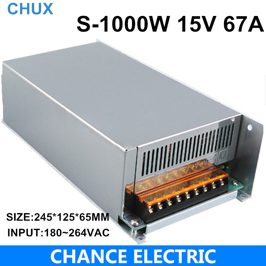 1000W 15V adjustable 67A Single Output Switching power supply AC to DC 110V or 220V