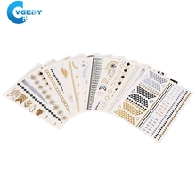 12 Sheets Temporary Disposable Metallic Golden Silver Black Flash Tattoos Stickers