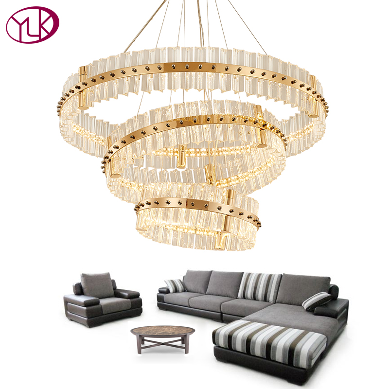 Youlaike Luxury Modern Crystal Chandelier Gold Three Rings Hanging Lighting Fixture For Living Room LED Lustres De Cristal youlaike luxury modern crystal chandelier for living room foyer hanging gold lighting fixture restaurant led cristal lustres