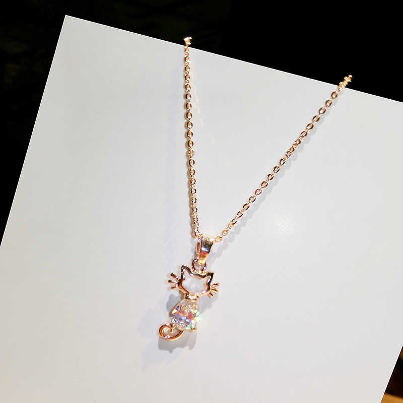 Pingente de gato pequeno fresco subiu colar de ouro chocker cadeia feminina clavícula curto colar de moda