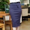 Moda doce cor estiramento Slim Fit saia com cinto de cor sólida meados de cintura alta lápis na altura do joelho vestido curto