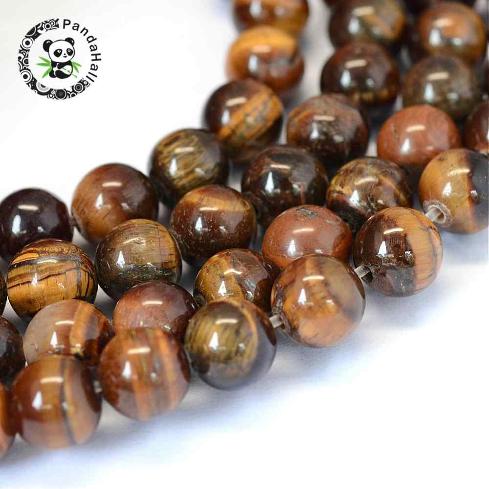 AB grau Natural Tiger Eye Rodada Bead Vertentes, 8 ~ 8.5mm, furo: 1mm; sobre 47 pcs/strand, 15.5""