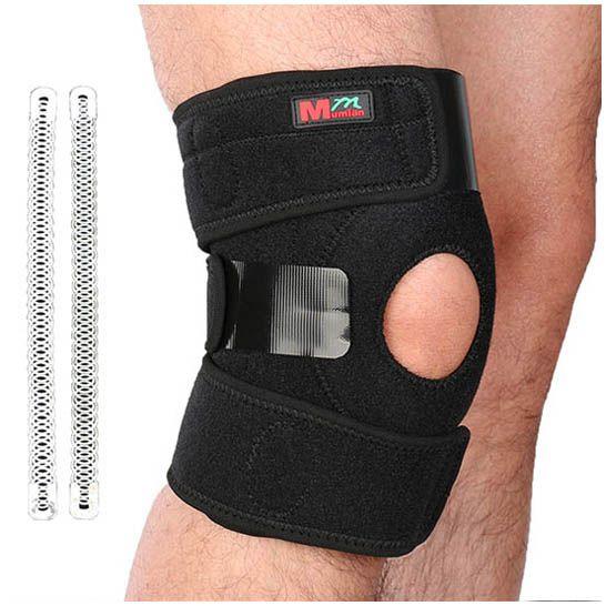 1 pcs Mumian Knee Adjustable Sport Leg Knee Brace Wrap Protector Pad Sleeve Cap Patella Guard 2 Spring Bars One Size Black