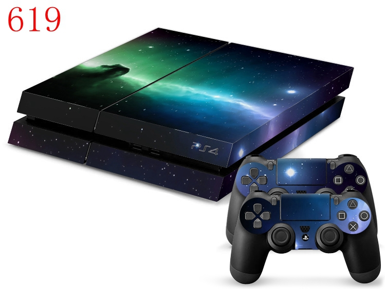 OSTSTICKER Starry Sky PVC Skin Sticker For PS4 Console + 2 pcs Contreller +2pcs Lightbar For Play Station 4