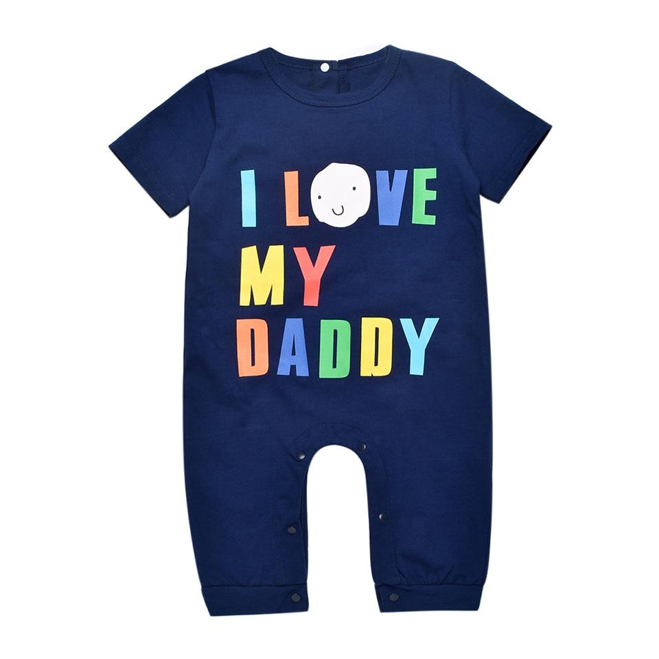 Noworodka Lato Pajacyki 2016 Kocham Moją Tato Mumia Druku Romper Dla - Odzież dla niemowląt - Zdjęcie 2