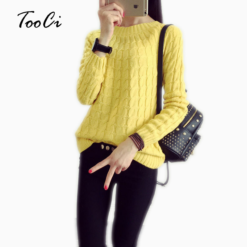 Spring New  Women Yellow Knitted Sweater And Pullovers Solid Color Casual 9 Colours Long Sleeve O-neck Twist Knitted  Sweater