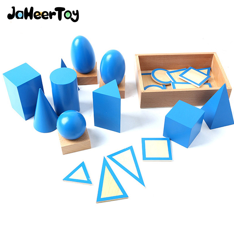 JaheerToy Montessori Early Childhood Educational Wooden Toys Geometric Assembling Blocks Baby Shape Cognition Teaching Aid 14 piece per set montessori baby educational wooden geometry shape wood building blocks teaching toys