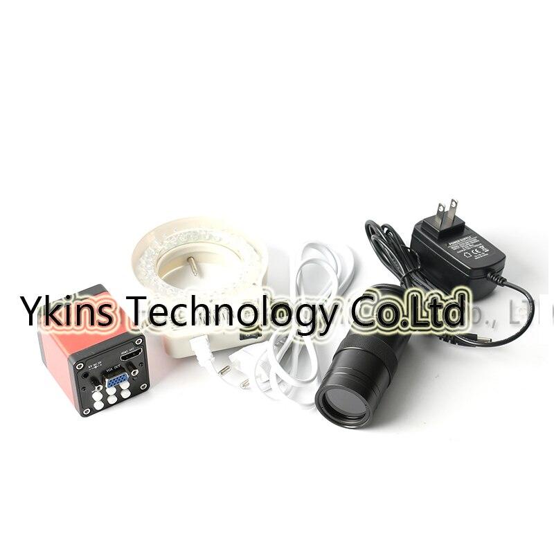 HD 13MP 1/3 CMOS Industrial Microscope Camera Kit + 100X Adjustable Zoom C-mount Lens + 56 LED Ring Light 60 100x zoom led digital microscope lens case for samsung i9300 black