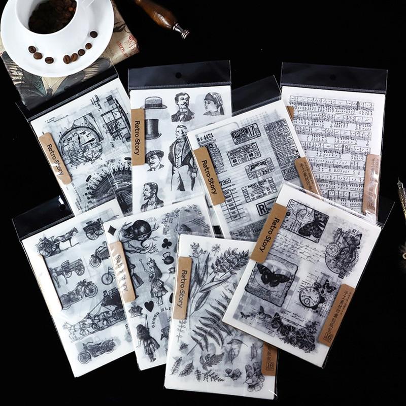 16 Sheet/pack Decorative Stationery Stickers Vintage Music Render Background For Scrapbooking Decorative DIY Craft Photo Escolar
