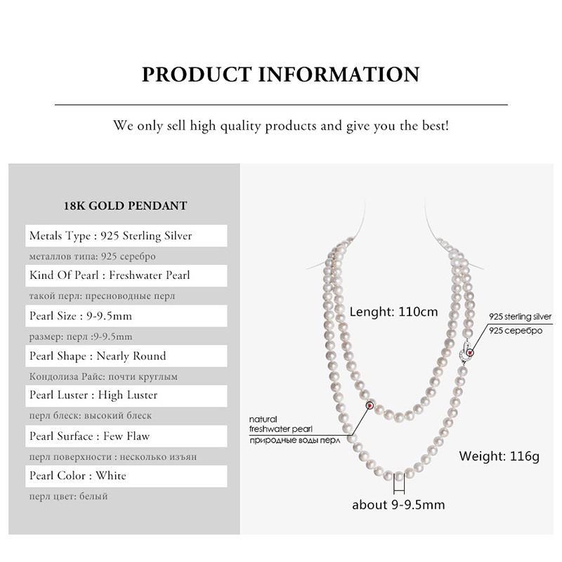 Elegant Long 110cm 100% Genuine Natural Pearl Near Round Women Necklace For Love Gift, Classic White Big 9-10mm Natural Pearl